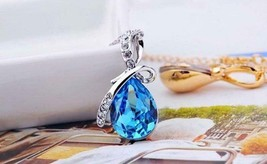 18K White Gold Plated Necklace with Teardrop Swarovski Crystal -choose color image 2
