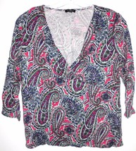 TALBOTS 3/4 Sleeve Paisley V-Neck Shirt Top Sz MEDIUM Petite Women's - $6.92