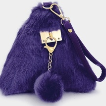 Ginga's Galleria Purple 3D Triangle Fur Wristlet Bag with Keychain - $24.00