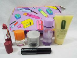 Clinique 7 Piece Set Mascara Remover Happy Love Pop Lip Smart Night Oil Gel Bag - $22.02