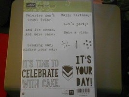 Stampin Up Wooden Stamp Set (new) PARTY WITH CAKE (12 stamps) - $28.17