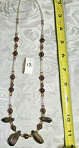 """Purple Amethyst Glass and Volcanic Rock Beaded Necklace 22""""           (#12) image 3"""