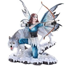 Large Winter Fairy Warrior with White Wolf Bow and Arrow Statue 18 Inch - $146.00