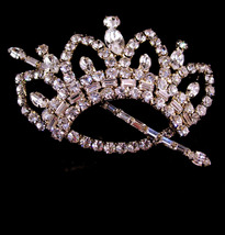 "Queen Brooch - HUGE 3"" Rhinestone crown - BIG baguette scepter - Large V... - $165.00"