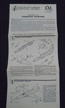 AIRFIX FREEDOM FIGHTER PLASTIC PLANE MODEL INSTRUCTION SHEET ©1960 - $9.95