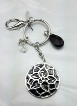 White House Black Market flower Keychain metal black and silver - $8.22