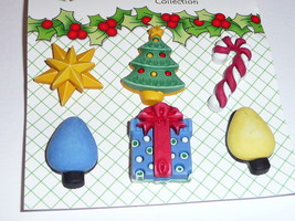 Christmas Holiday Tree, Present, Star, Lights, Cane  Bazoople Shank Butt... - $4.99