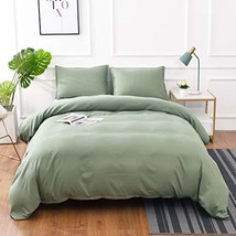 M&Meagle 3 Pieces Green Duvet Cover Set with Zipper Clousure,100% Stone Washed P