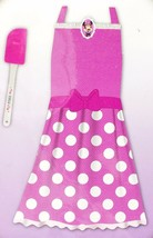 Disney Minnie Mouse Pink Apron Dress Up Play Set 2pc Polka Dots New - $21.99