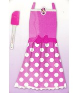 Disney Minnie Mouse Pink Apron Dress Up Play Set 2pc Polka Dots New - $21.99
