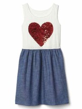 Gap Kids Girl Chambray Colorblock White Blue Red Heart Sequin Tank Dress 12 - $19.99