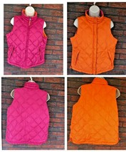 Reversible Goose Down Vest Coldwater Creek Orange Pink Zipper Pockets Dr... - $39.60