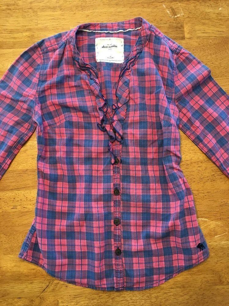 Abercrombie Kids Girl's Blue & Pink Plaid V-Neck Dress Shirt - Medium image 2