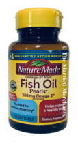 Nature Made Fish Oil Pearls 550 mg EPA DHA / serving 90 softgels 8/2022 ... - $14.99