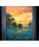 Hardy Martin Summer Shower Near Llano Texas Bluebonnet Landscape Oil on ... - $1,194.93