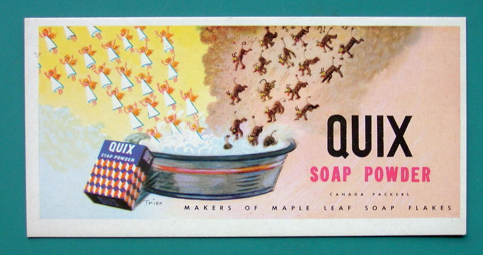 INK BLOTTER 1950s - QUIX Soap Powder Canada Packers Maple Leaf Flakes