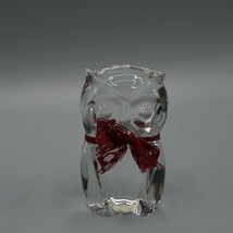 """Lead Crystal Owl Bohemia Czech Republic 24% w/ Ribbon 3.25"""" Clear Crystal Bird - $19.34"""