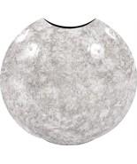 Vase HOWARD ELLIOTT Disc Round Large White Gray Black Iron - $259.00