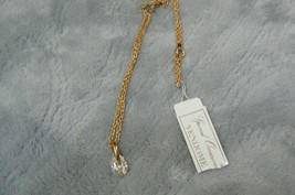 Lovely Vendome Goldtone Crystal Pendant Chain Necklace - $9.89