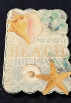 "1-Punch Studio blank Card-BEACH-SEASHELLS-3.5""x 5""-WHITE envelope  - $2.25"