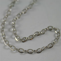 18K WHITE GOLD CHAIN MINI 2 MM ROLO OVAL MIRROR LINK 17.70 INCHES MADE IN ITALY image 4