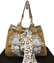 Authentic GUCCI Limited Edition White/Brown Embroidered Canvas Positano ... - $1,381.05