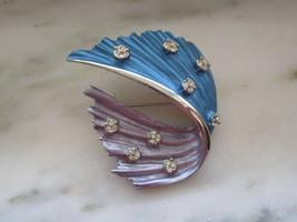 Vintage Silver Tone White Rhinestone Blue & Purple Swoop or Ribbon Pin o... - $20.00