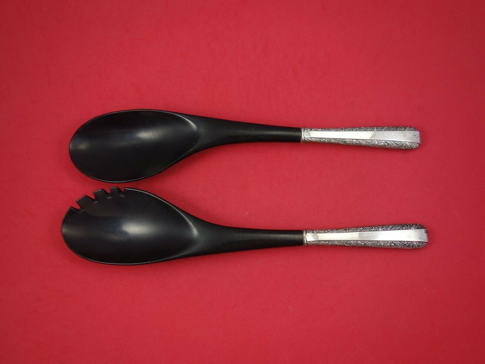 Primary image for Candlelight by Towle Sterling Silver Salad Serving Set w/ Black Plastic 2pc