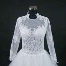 New Stunning Amazing Train Long Sleeve Lace Appliques Satin Wedding Bridal Gown image 8