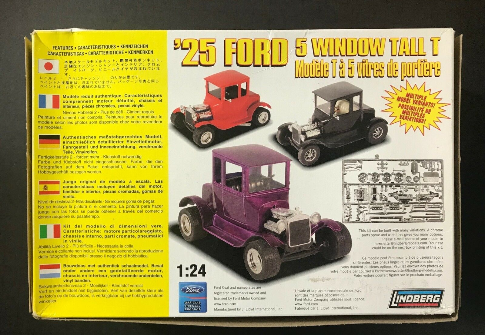 Lindberg '25 Ford 5 Window Tall T 1/24 Model Kit 72196 NEW IN BOX image 4