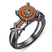 Round Cut Orange Sapphire Engagement Wedding Ring 14k Black Gold Over 92... - $87.99