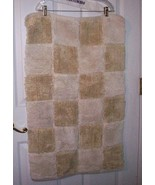 Thick Soft 21 X 34 Golden Tan & White Checkered Squares Floor Scatter Area Rug - $10.00