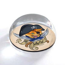 """Jolly Pirate Cat Illustration Art Gift 2"""" Crystal Dome Magnet or Paperwe... - $15.99"""