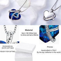 Sterling Silver Necklace *BERMUDA BLUE* 10-28mm Heart Crystals from Swar... - $12.73