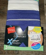 Hanes ~ Women's Bikini X-Temp Underwear Panties 3-Pair Cotton Blend ~ 9/2XL - $13.09