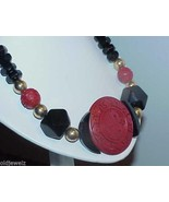 Antique Cinnabar Onyx Cube Necklace Art Deco Chunky Vintage Huge Disc Or... - $118.79