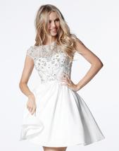 Scoop Open Back Cap Sleeves Beaded Short White Satin Prom Homecoming Dresses  - $139.00