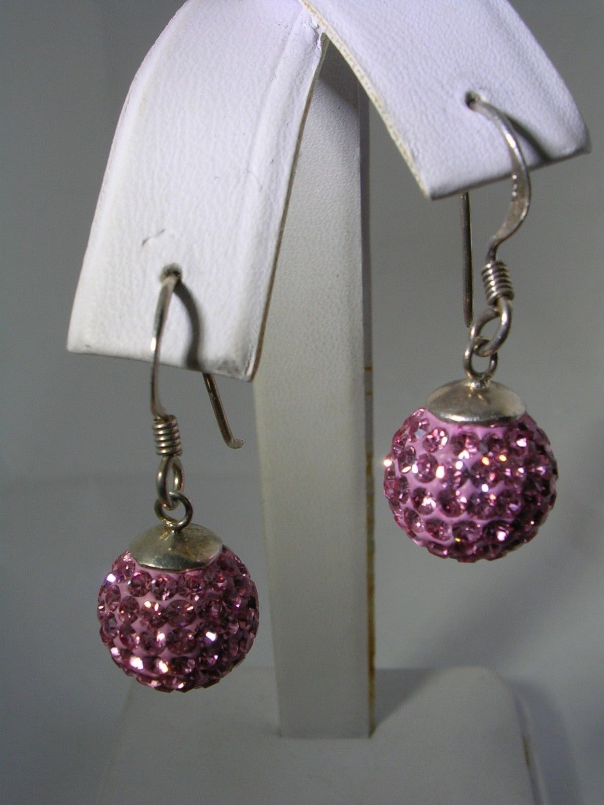Primary image for PINK CRYSTAL HANGING BALL EARRINGS IN STERLING SILVER