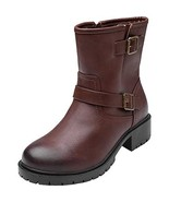 Women's Wide Width Mid Calf Boots - Motorcycle Buckle Mid Low Heel Side ... - $50.11