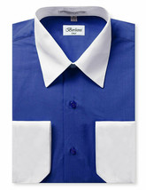 Berlioni Italy Men's Royal Blue White Cuffs Two Tone Dress Shirt w/ Defect - 2XL