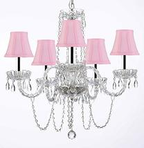Murano Venetian Style All-Crystal Chandelier with Pink Shades w/Chrome Sleeves H - $148.94
