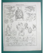 MYTHOLOGY Gods of Hell Pluto Zephyr Persephone Jupiter - 1825 Antique Print - $9.79