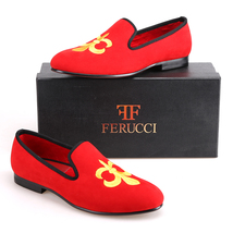 Handmade FERUCCI Men Red Velvet Slippers Flats loafers with Fleur de Lys - $139.99