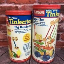 Vintage 1986 Playskool Tinkertoy Big Builder & Super Sets 2 Canisters Tinkertoys - $45.00