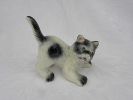 Vintage Black and White Porcelain or Ceramic Crouching Cat Figure - $6.99