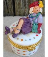 Porcelain Jewel Box w Lady on Top Coffee Tea My Friends - $10.00