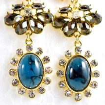 """Mode Blue Shourouk Style Look Lucite 2.75"""" Drop Dangle Post Earrings New w Tag image 5"""