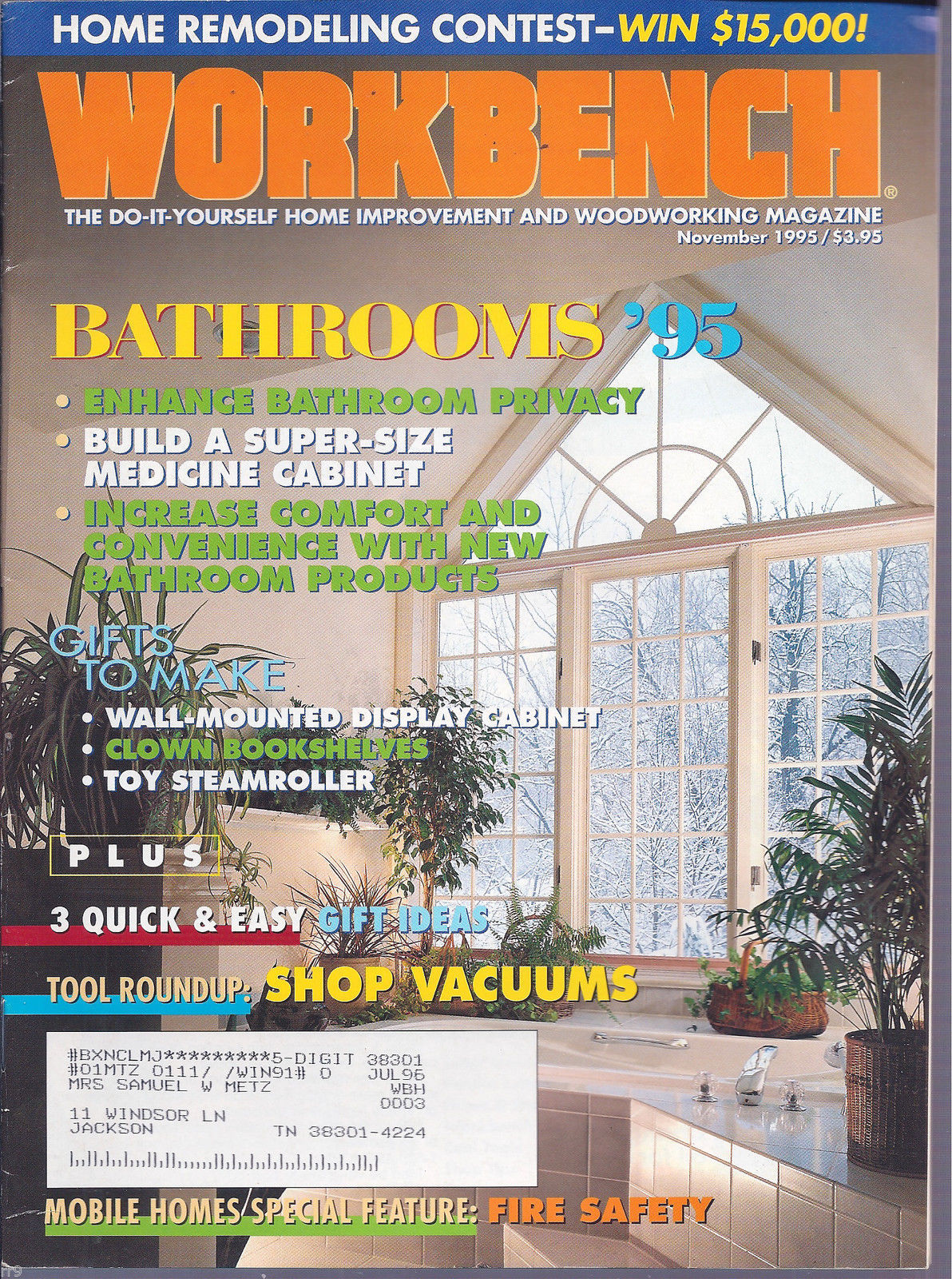 Primary image for Workbench November 1995 The Do-It-Yourself Magazine/ Bathrooms