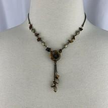 Avon Tigers Eye Medallion Necklace Vintage Signed NR Brass Tone Lavalier Flower  - $14.80