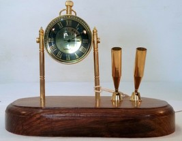 Vintage Style Table Top Desk Brass Clock Antique Collectible Watch Decor... - £38.20 GBP